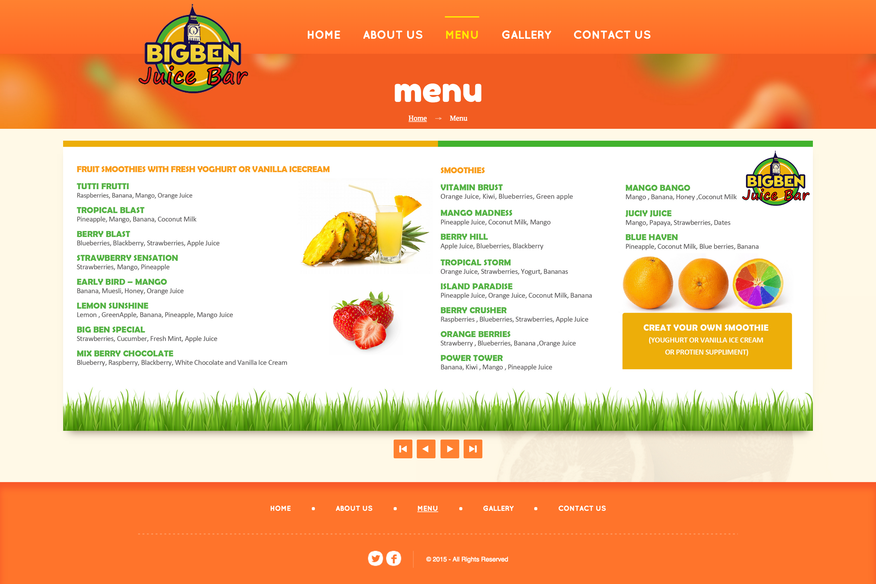 Big Ben Juice Bar - Murtaza - Web Designer and Developer